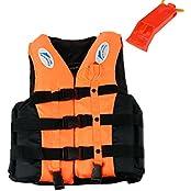 S-XXXL Polyester Adult Life Jacket Universal Swimming Boating Ski Vest+Whistle(orange)