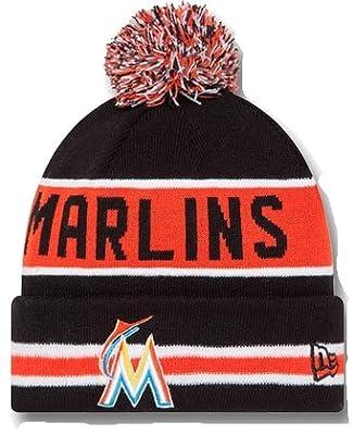 Miami Marlins The Coach Striped Cuffed Pom Knit Beanie Cap