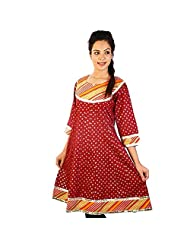 Jaipur RagaRed Patch Work Designer Cotton Party Long Kurti Red Cotton Kurti