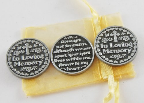 Set of 3 In Loving Memory Pocket Token Coins with Organza Bag