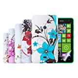 Kwmobile 6in1 set: 5x TPU Case for the Nokia Lumia 625 Flower design + Skin, crystal clear - Stylish designer cases made from high-quality soft TPU