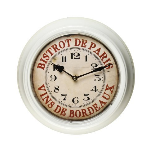 Adeco White Iron Vintage-Inspired Round Wall Hanging Clock Bistrot de Paris, Vins De Bordeaux French Home Decor, Indian Red