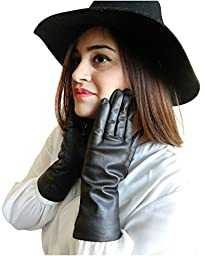 Fownes Women\'s Cashmere Lined Black Lambskin Leather Gloves 7/M