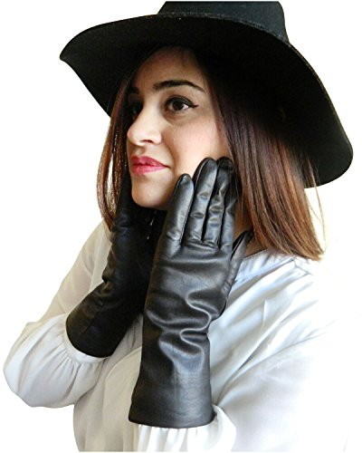 Fownes Women's Cashmere Lined Black Lambskin Leather Gloves 7/M