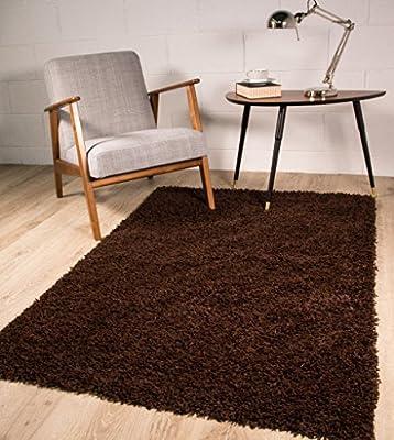 Stockholm Luxury Chocolate Brown Dense Pile Soft Shaggy Shag Area Rug