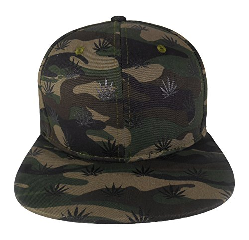 Cap2Shoes-Mens-Marijuana-Weed-Leaf-Snapback-One-Size-Camo