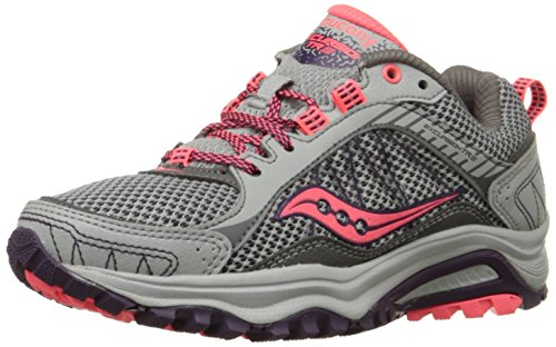 Saucony Women's Grid Excursion TR9 Trail Running Shoe, Grey/Plum/Coral, 10 M US