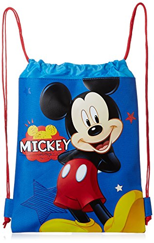 Blue Mickey Mouse Drawstring Backpack - Large Drawsting Bag (Disney Draw Bag compare prices)