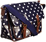 SwankySwans Women's Ashley Polka Dot Satchel Blue SS01011 Large