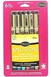 Sakura 30063 6-Piece Pigma Micron 01 Ink Pen Set, Assorted Colors