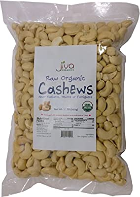 Jiva Organics Raw Organic Cashews (Whole) 2 Pound Bag