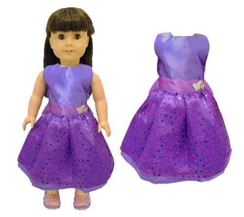 Doll Clothes - Beautiful Purple Dress with Dots Outfit Fits American Girl Doll, My Life Doll, Our Generation and other 18 inch Dolls