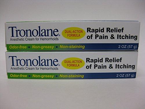 Tronolane Anesthetic Cream for Hemorrhoids , Dual Action Formula , 2 Ounces (Pack of 2)