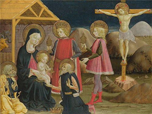 The High Quality Polyster Canvas Of Oil Painting 'Benedetto Bonfigli The Adoration Of The Kings And Christ On The Cross ' ,size: 30 X 40 Inch / 76 X 102 Cm ,this Best Price Art Decorative Prints On Canvas Is Fit For Wall Art Decoration And Home Decor And Gifts (Building Cross Country Jumps compare prices)