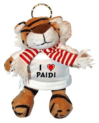 Plüsch Tiger Schlüsselhalter mit T-shirt mit Aufschrift Ich liebe Paidi (Vorname/Zuname/Spitzname)