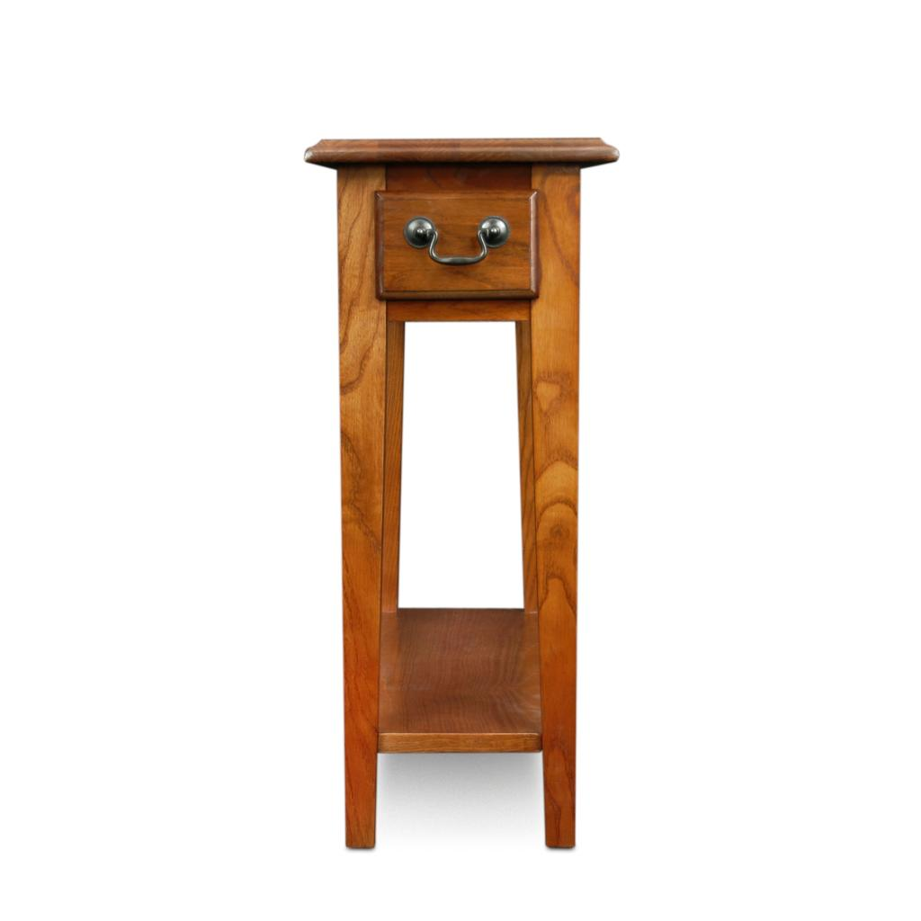 Leick Chair Side End Table Medium Oak Finish Narrow End Table