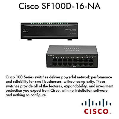 Cisco Small Business 100 Series SF100D-16-NA 16-Port Unmanaged 10/100Mbps Desktop Switch
