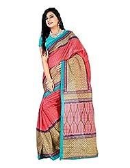 Fabdeal Beige & Red Colored Bhagalpuri Silk Printed Saree