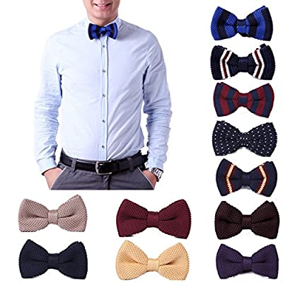 HDE Mens Pre-tied Bowtie Vintage Fashion Adjustable Woven Waffle Knit Bow Tie