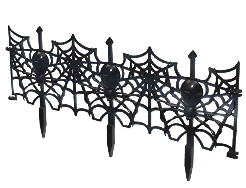 Forum Novelties 24-Piece Gothic Spider Web Fence Lawn Decoration, Black - 1