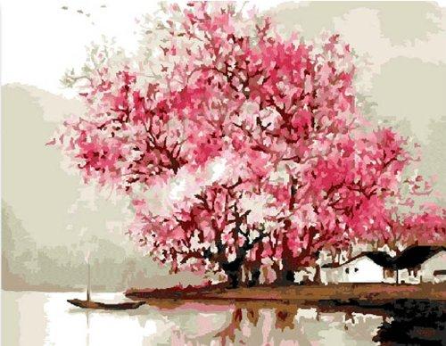 Colour Talk DIY Oil Painting, Paint by Number Kit- Misty Rain 16x20 inch (Tamaño: Framed Canvas)