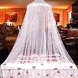 Elegant Lace Bed Mosquito Netting Mesh Canopy Princess Round Dome Bedding Net (white)