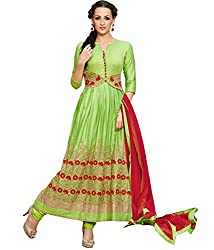 Shelina Women Green Satin Embroidered Anarkali Salwar Suit