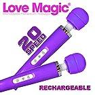 Love Magic Wand Multipurpose Therapeutic Massager USB Purple - Hitachi Style 20 Speed Patterns, Quiet Vibrations-steady & Pulsating, Silicone Massage Head, Flexible Neck, Maximum Pleasure -13 Length PLUS Two Bottles of 2 oz Aqua Z Lube!