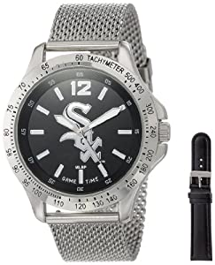 Game Time Mens MLB-CAG-CWS Cage MLB Series Chicago White Sox 3-Hand Analog Watch by Game Time