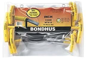 Bondhus 13338 Set of 10 Hex T-handles, sizes 3/32-3/8-Inch