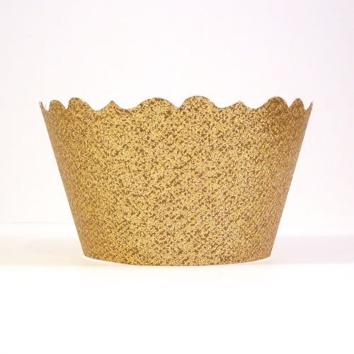 Bella Cupcake Couture 633131980196 Glitter Crown Gold Cupcake Wrappers, Kings Gold, Set Of 12 front-585913