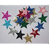 Mix Colours 24 Fabric Glitter 25mm Star Iron-On