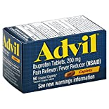 Advil Pain Reliever/Fever Reducer, 200 mg, Coated Caplets, 50 caplets