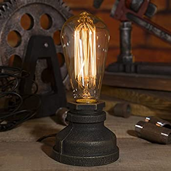Kiven Steampunk Iron Table Lamp Vintage Style Desk Light E27 Iron Base Modern Antique Table Light Bulbs Not Included