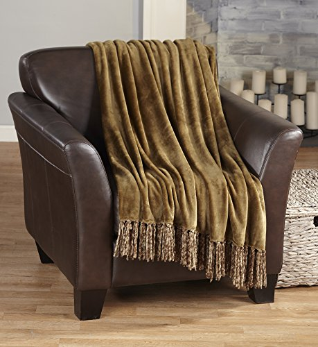 Raya Collection Ultra Velvet Plush Super Soft Blanket in Solid Colors. Lightweight, Warm Throw Blanket with Decorative Fringe. By Home Fashion Designs. (Mocha)