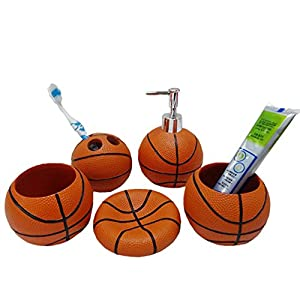 Basketball 5 piece bathroom accessories for A bathroom i can play baseball in