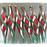 Queens Of Christmas WL-FIN-12PK-RWG 12 Pack Decorative Finial Ornament With Design, Red/White/Green