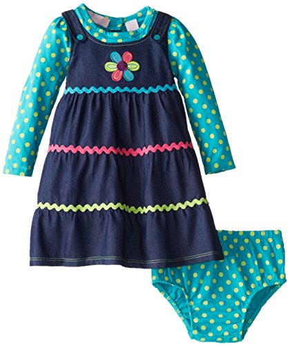 Kids Headquarters Baby-Girls Newborn Polka Dots Long Sleeve Dress With Flower, Multi, 12 Months front-861092