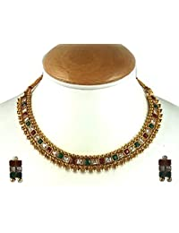 Aradhya Gold Plated Stone Floral Necklace Set With Earrings