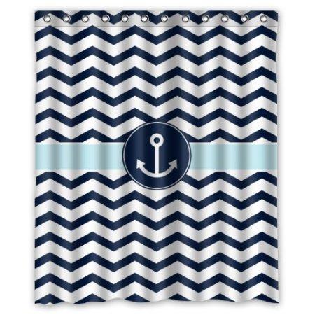 Tenda per doccia bagno BBFhome Hem ponderazioni Marine blu e bianco Chevron con acqua ancora modello doccia ganci con poliestere, Poliestere, 168 ( L ) x 180 (H) CM