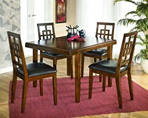 Signature Design by Ashley Furniture D295-225 Cimeran Dining Room Table Set With One Dining Table, 4 Side Chairs, Chair Seat Upholstered In Brown PVC & In Medium Brown