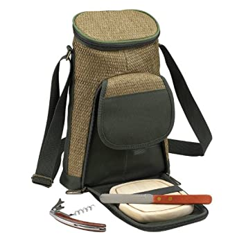 Picnic at Ascot ECO 2 Bottle Tote and Cheese Set, Natural/Forest Green