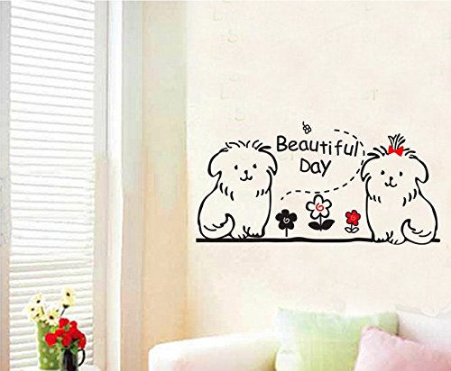 """Beautiful Day""The Living Room Background Wall Stickers Cute Dogs front-756566"