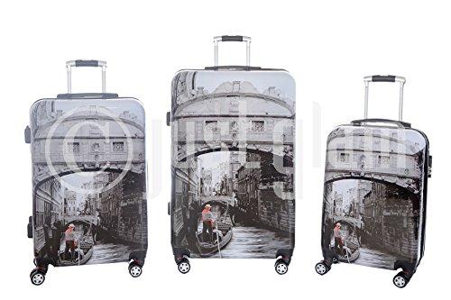 JustGlam - Set 3 trolley lucidi Venezia , valigie rigide in ABS policarbonato ,8 ruote piroettanti ,bagaglio piccolo da cabina idoneo per voli lowcost , chiusura con lucchetto a combinazione / unico