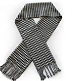 Classic Premium Houndstooth Check Scarf - White & Black