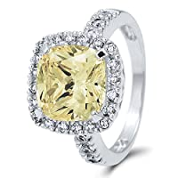BERRICLE Sterling Silver Cushion Cut Canary Yellow Cubic Zirconia CZ Halo Womens Cocktail Ring by BERRICLE