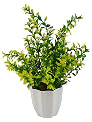 Thefancymart Artificial Green plant (size 12 inchs/ 30 cms) with white round pot -1056