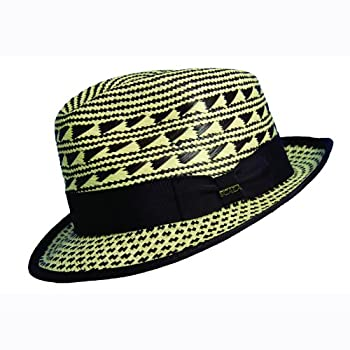 Two tone snap brim panama hat