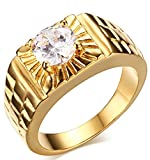 Adisaer Men's Stainless Steel Gold Plated Promise Ring Cubic Zirconia CZ Band Gold Size 8 Comfort Fit