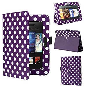 """Swees® New Kindle Fire HD Premium Folio Case / Cover and Flip Stand for the New Kindle Fire HD 7"""" Tablet 16GB or 32GB (25 Oct 2012 Version) with Built-in Magnet for Sleep / Wake Feature, Includes Screen Protector and Stylus Pen (Purple with white Dots)"""